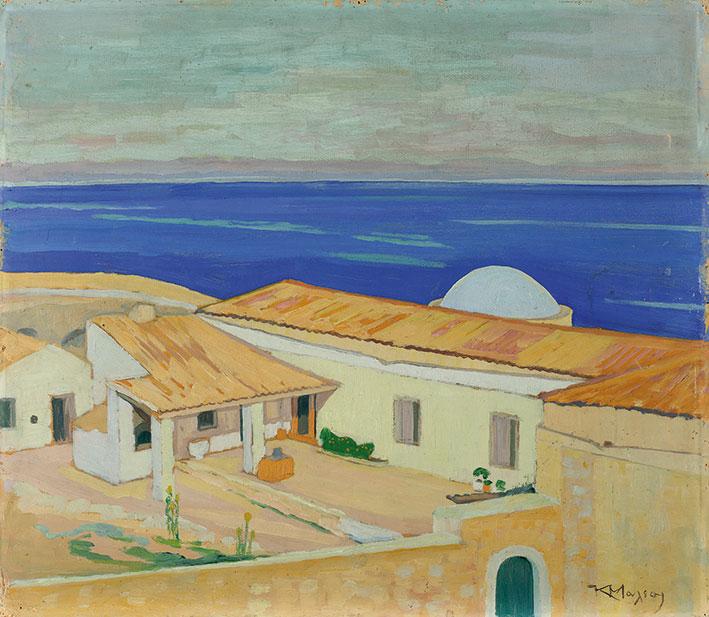 Κωνσταντίνος Μαλέας, «Μονεμβασιά (Σπίτια στη Μονεμβασιά)», 1920-28, ελαιογραφία σε χαρτόνι. Συλλογή της Τράπεζας της Ελλάδος.