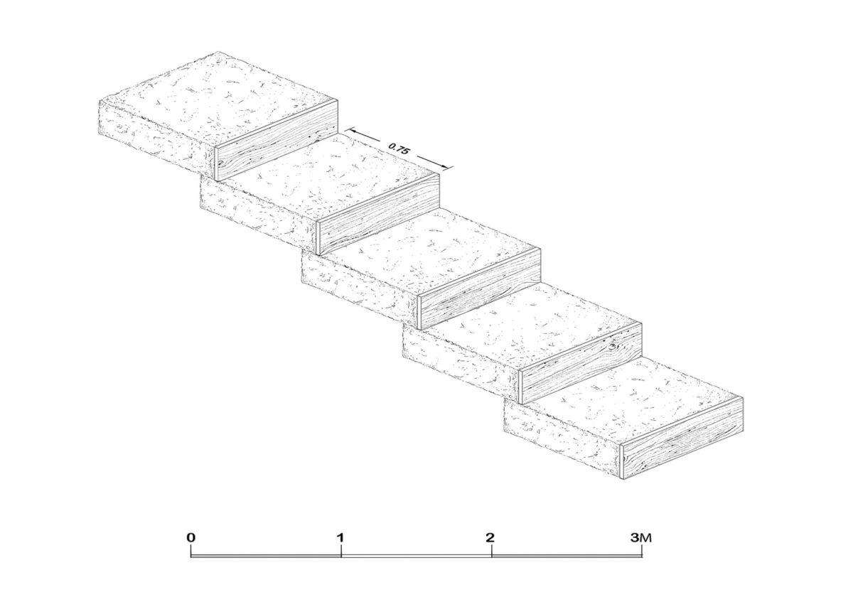 Εικ. 16. Σχέδιο δημιουργίας βαθμίδων, με χώμα που το συγκρατούν ξύλινα ρίχτια, σε αντικατάσταση των αρχικών λίθινων.