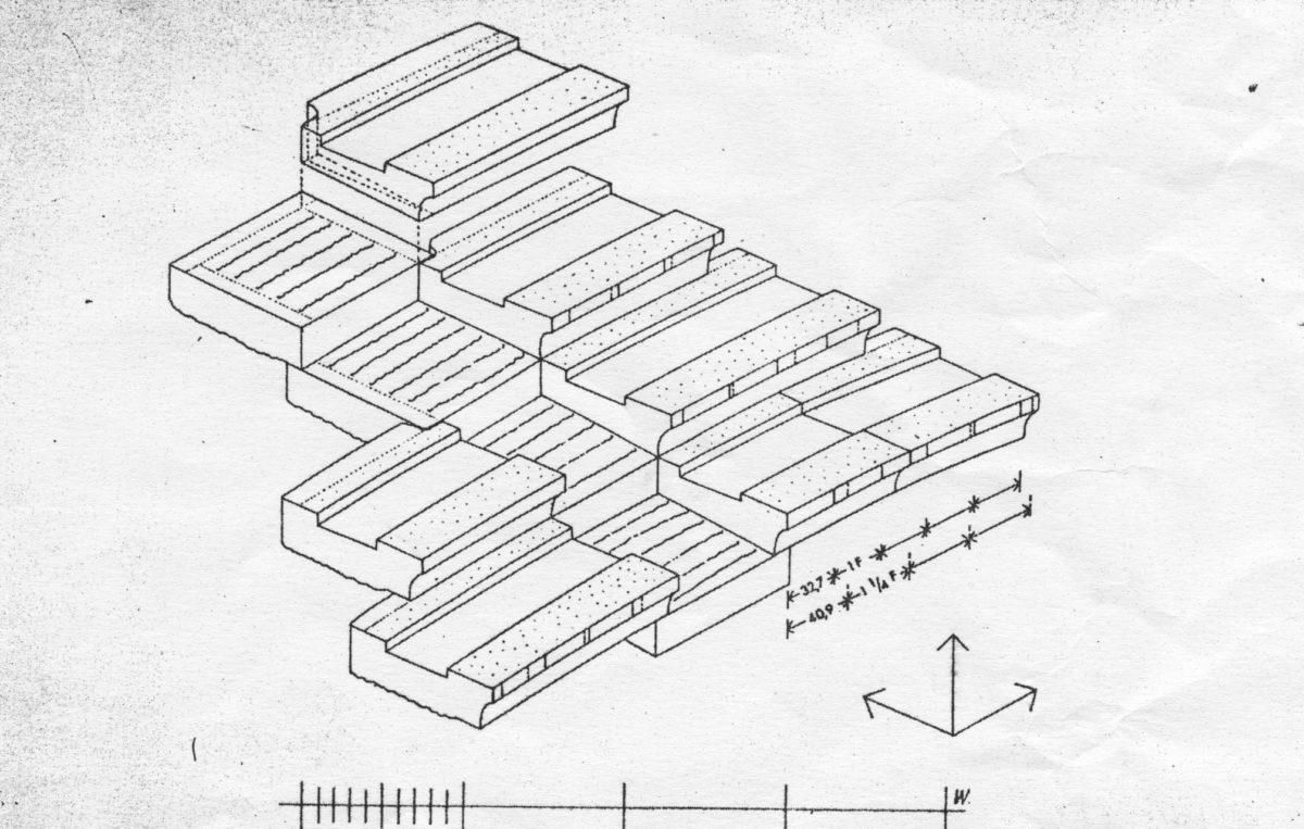 Εικ. 17. Σχέδιο της αρχαίας κατασκευαστικής λεπτομέρειας βαθμίδων και εδωλίων του Θεάτρου του Διονύσου κατά Wurster.