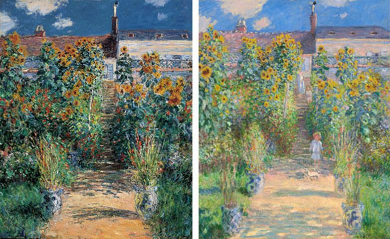 Οι δύο πίνακες του Κλοντ Μονέ. Αριστερά ο πίνακας του 1881, του Μουσείου Norton Simon. Δεξιά, ο πίνακας του 1880 που ανήκει στην Εθνική Πινακοθήκη της Ουάσινγκτον.