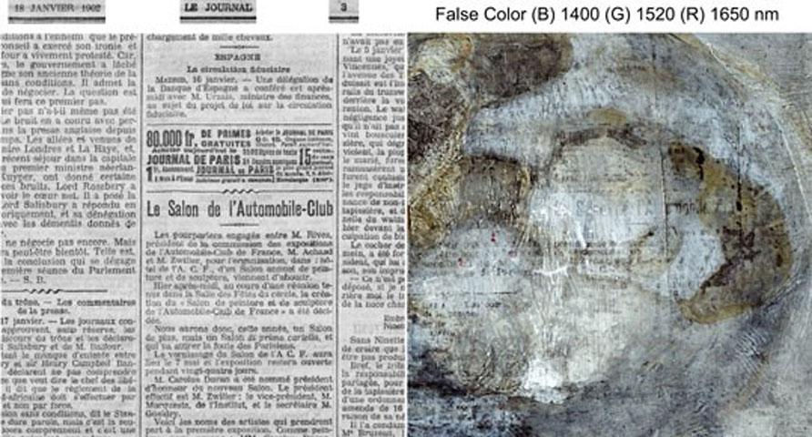 Σελίδα της εφημερίδας «Le Journal», του 1902, βρέθηκε σε πίνακα του Πικάσο (φωτ.: National Gallery of Art, Washington).