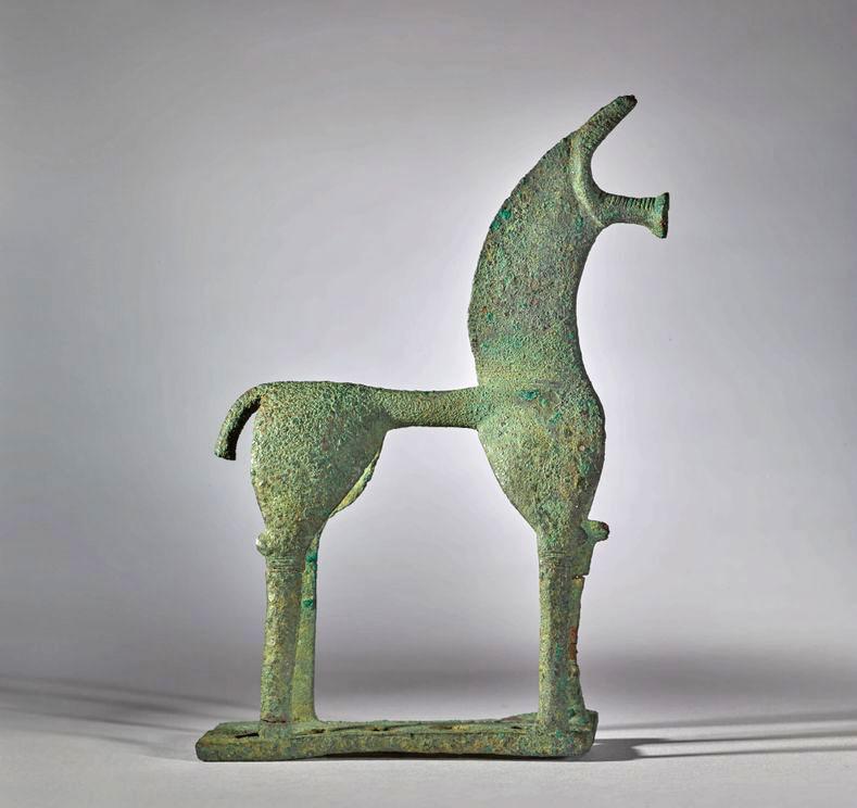 Χάλκινο ειδώλιο αλόγου του 8ου αι. π.Χ., το οποίο επρόκειτο να δημοπρατηθεί από τον οίκο Sotheby's στη Νέα Υόρκη, στις 14 Μαΐου 2018. Φωτ.: © Sotheby's.