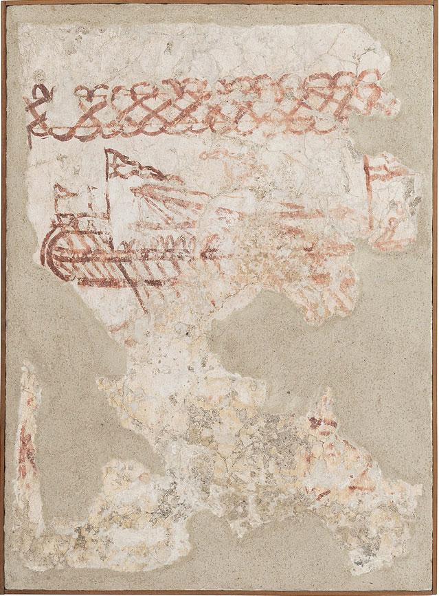 Τοιχογραφία βυζαντινού δρόμωνα, β' μισό 13ου αιώνα (Φωτ.: Εφορεία Αρχαιοτήτων Κυκλάδων).