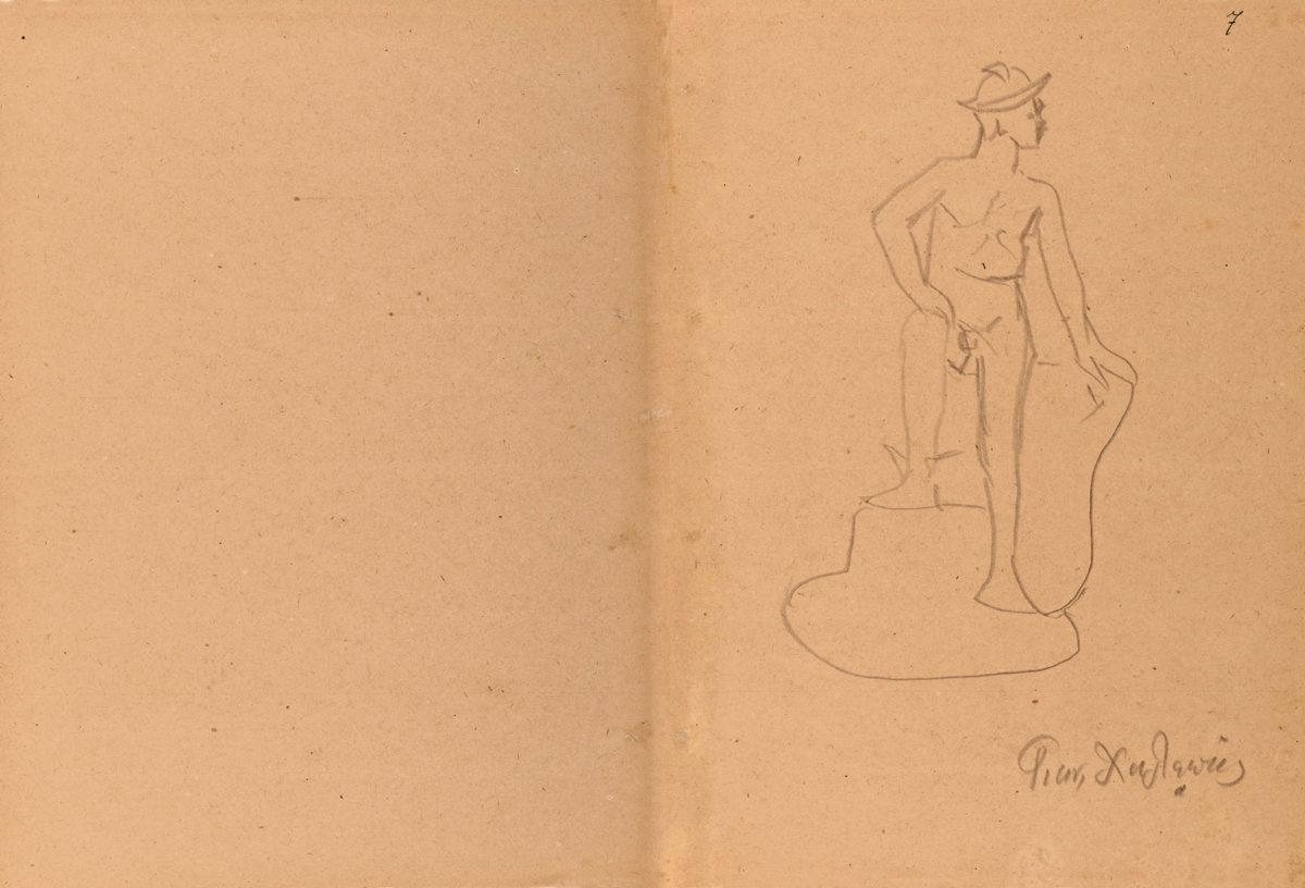 Ερμής καθιστός. Αδημοσίευτο σχέδιο (μολύβι σε χαρτί) του Γιανούλη Χαλεπά (από τον ιδιώτη Νικόλαο Δούκα).