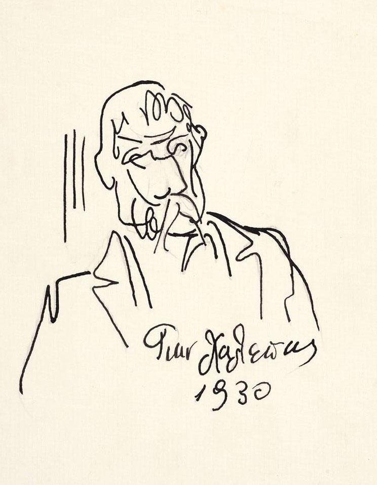Αυτοπροσωπογραφία, 1930. Μελάνι σε χαρτί, 21,3x15,3 εκ. (ΕΠΜΑΣ 7050). © Εθνική Πινακοθήκη-Μουσείο Αλεξάνδρου Σούτσου, φωτ.: Θάλεια Κυμπάρη.