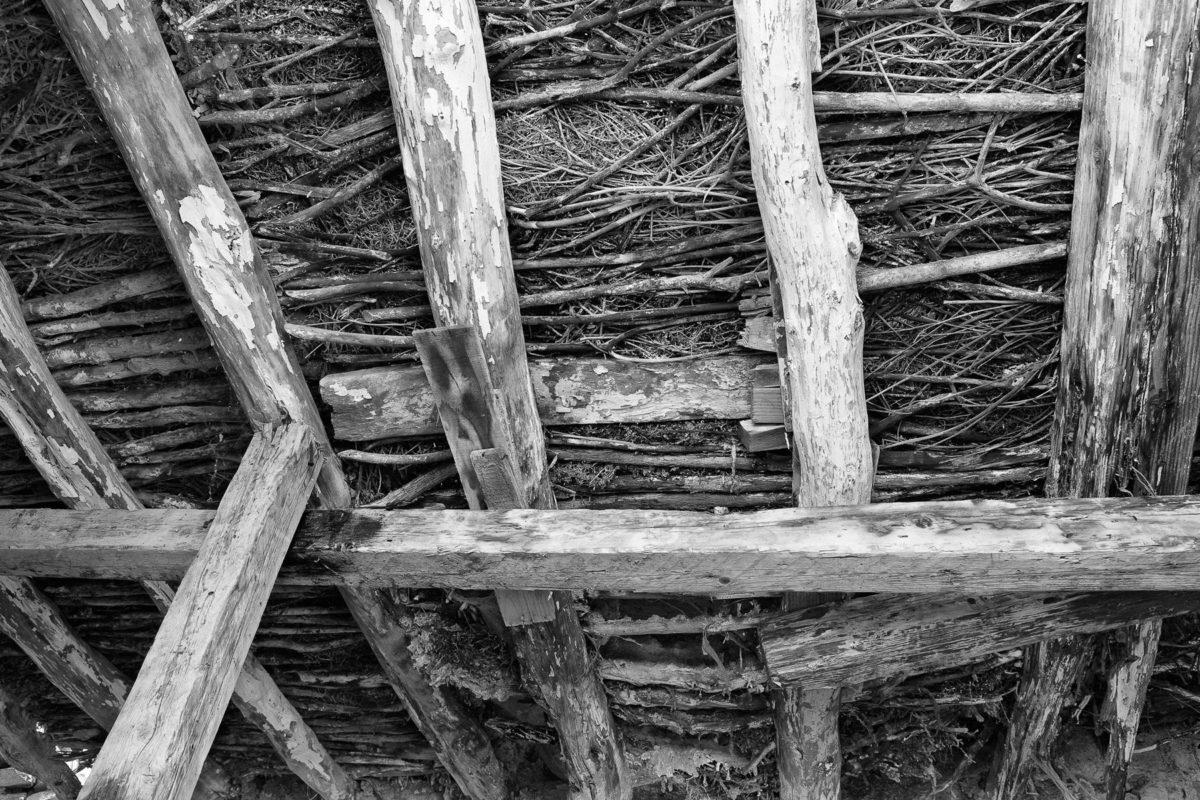 Εικ. 2. Η στέγη του παράσπιτου με δοκάρια από τοπικό κέδρο (τσιντρό), κλαδιά, φρύγανα και φύκια. © Παναγιώτης Ηλίας.