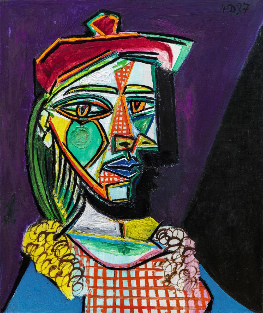 Εικ. 4. Pablo Picasso, «Femme au Béret et à la Robe Quadrillée (Marie-Thérèse Walter)», χρονολογημένο (πάνω δεξιά): 4 D 37 (δηλαδή: 4th December 1937), λάδι σε καμβά, 55x46 εκ. Το έργο αυτό δημοπρατήθηκε από τον οίκο Sotheby's, στις 28 Φεβρουαρίου 2018 προς £49.827.000. Φωτ.: © Sotheby's.