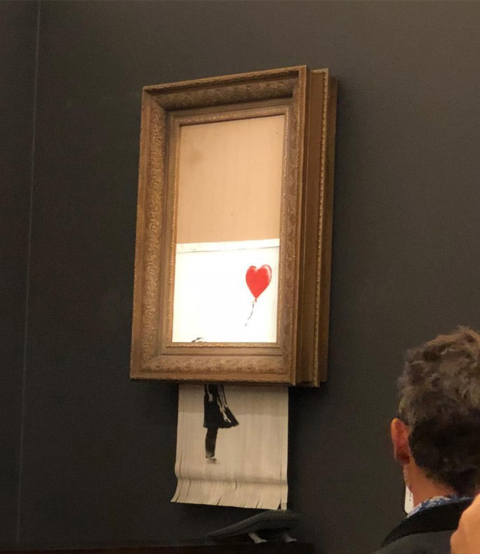 «To Κορίτσι με το Μπαλόνι» έγινε κομμάτια στη διάρκεια δημοπρασίας (φωτ.: Casterline Goodman Gallery).