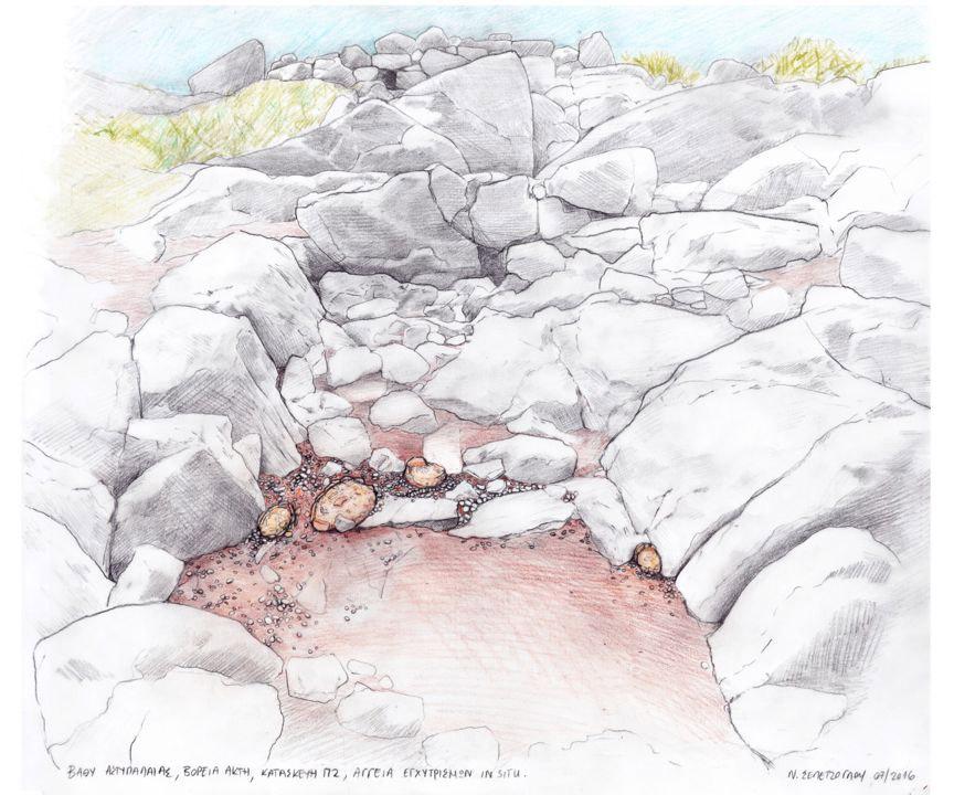Βαθύ Αστυπάλαιας, βόρεια ακτή. Αγγεία εγχυτρισμών in situ. Σχέδιο: Ν. Σεπετζόγλου.