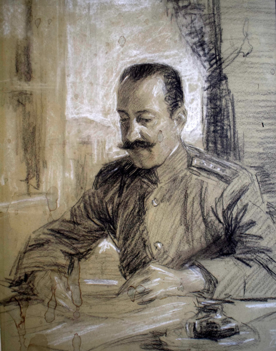 «Ο κος Ρακτιβάν του επιτελείου». Έργο της Θάλειας Φλωρά-Καραβία (φωτ.: Μουσείο Μακεδονικού Αγώνα).