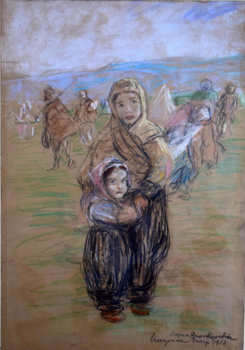 «Πρόσφυγες». Έργο της Θάλειας Φλωρά-Καραβία (φωτ.: Μουσείο Μακεδονικού Αγώνα).