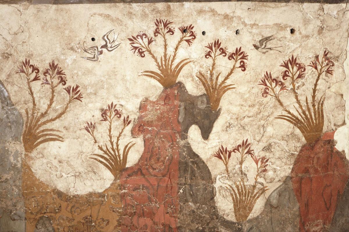 Η τοιχογραφία της Άνοιξης από το Ακρωτήρι της Θήρας (16ος αι. π.Χ.). Εθνικό Αρχαιολογικό Μουσείο.