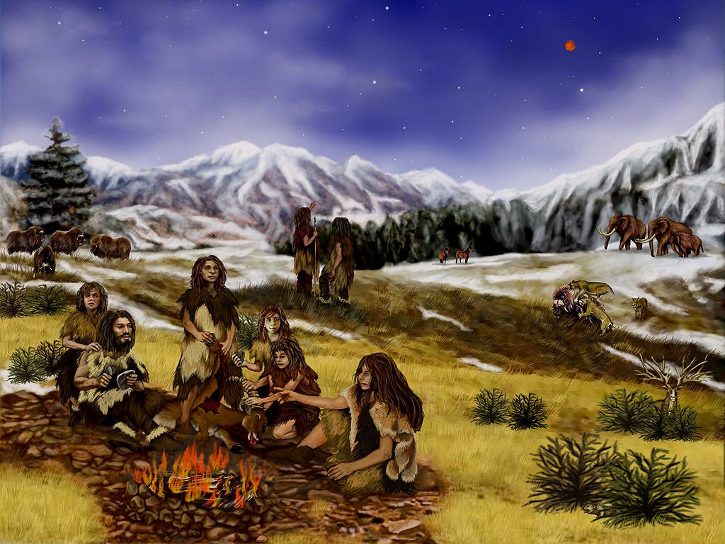 Οικογένεια Νεάντερταλ. Καλλιτεχνική απεικόνιση: Randii Oliver (πηγή: Wikipedia).