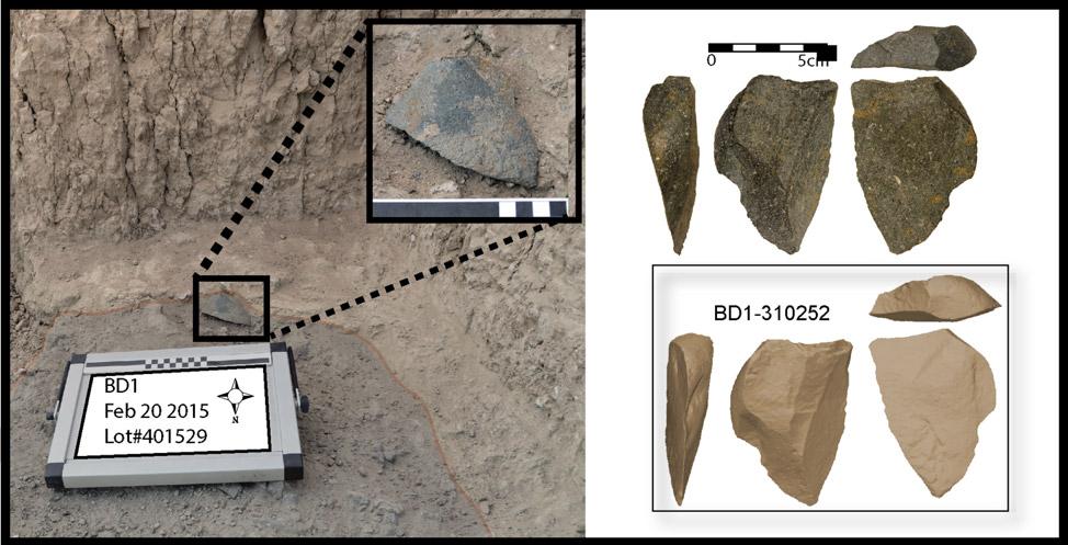 Λίθινο εργαλείο που βρέθηκε στη θέση Μποκόλ Ντόρα (in situ). Δεξιά: Φωτογραφία του ίδιου αντικειμένου και τρισδιάστατο μοντέλο του. Φωτ.: David R. Braun.