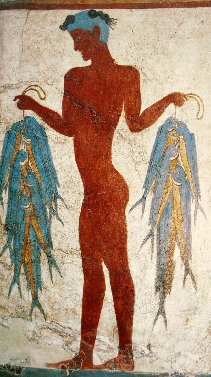 Τοιχογραφία του ψαρά, 17ος αι. π.Χ. Μουσείο Προϊστορικής Θήρας, KA 5817.