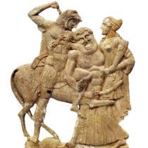 Πήλινο περίτμητο ανάγλυφο που απεικονίζει την αρπαγή της Δηιάνειρας και το φόνο του Κένταυρου Νέσσου από τον Ηρακλή.