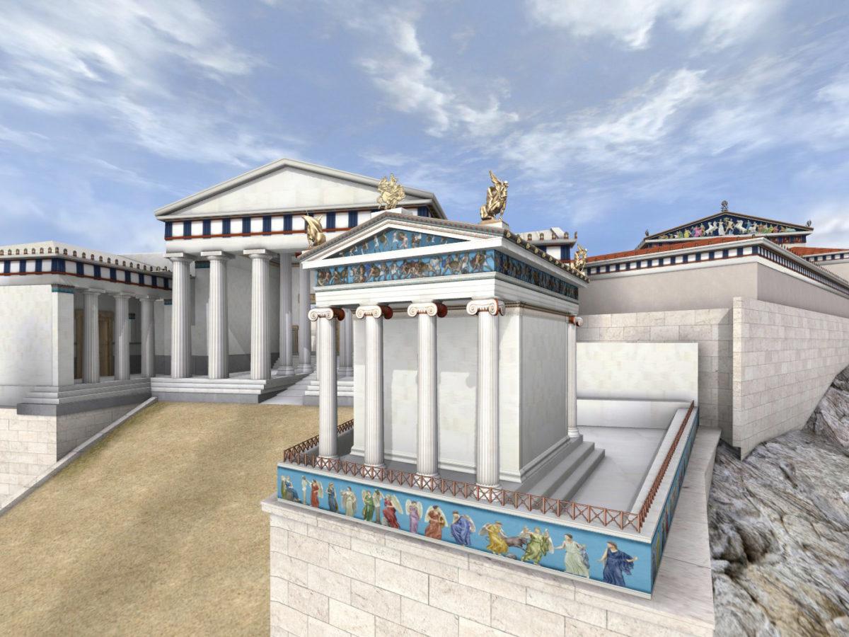 Τρισδιάστατη απεικόνιση του ναού της Απτέρου Νίκης.