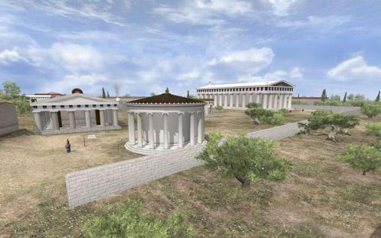 Περιήγηση στην αρχαία Ολυμπία.