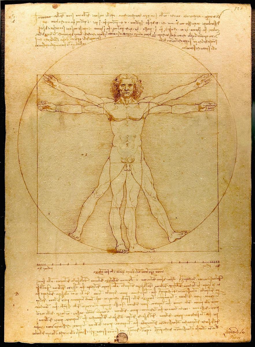 Λεονάρντο ντα Βίντσι, «Ο άνθρωπος του Βιτρούβιου», 1487 (φωτ.: Wikipedia).