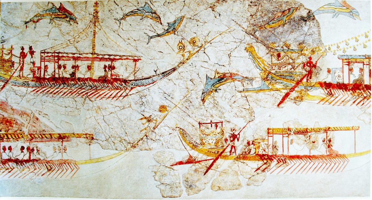 Λεπτομέρεια από την Τοιχογραφία του Στόλου. Δυτική Οικία, Ακρωτήρι Θήρας. 16ος αι. π.Χ.: Υστεροκυκλαδική Ι περίοδος (Φωτογραφικό Αρχείο Εθνικού Αρχαιολογικού Μουσείου).