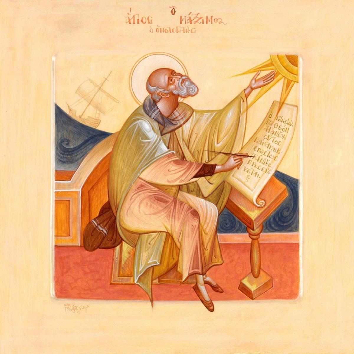 Γιώργος Κόρδης, «Άγιος Μάξιμος Ομολογητής». Αυγοτέμπερα σε ξύλο, 35x35 εκ.