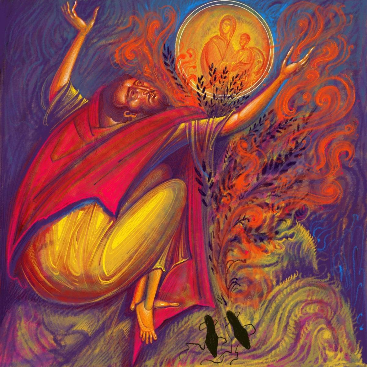 Γιώργος Κόρδης, «Ο Προφήτης Μωυσής προ της φλεγόμενης Βάτου». Ψηφιακή ζωγραφική, 1/5, Giclee Print.