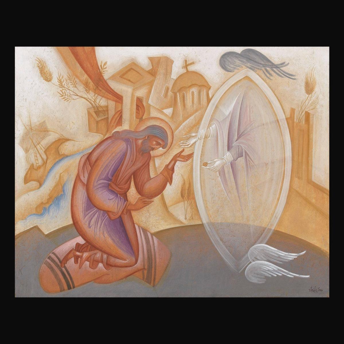 Γιώργος Κόρδης, «Το όραμα του αγίου Ιωάννη του Κουκουζέλη». Αυγοτέμπερα σε χαρτί επί ξύλου, 40x50 εκ.