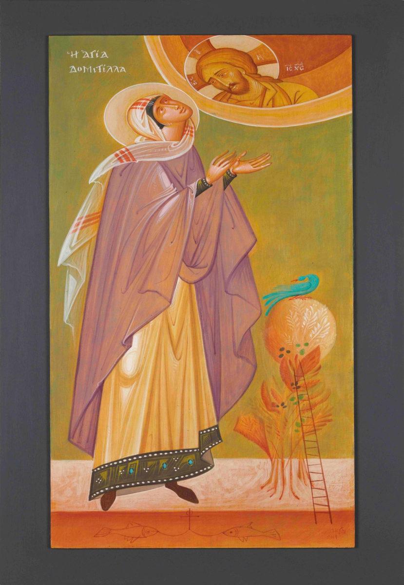 Γιώργος Κόρδης, «Η Αγία Δομιτίλλα». Αυγοτέμπερα σε χαρτί επί ξύλου, 40x80 εκ.