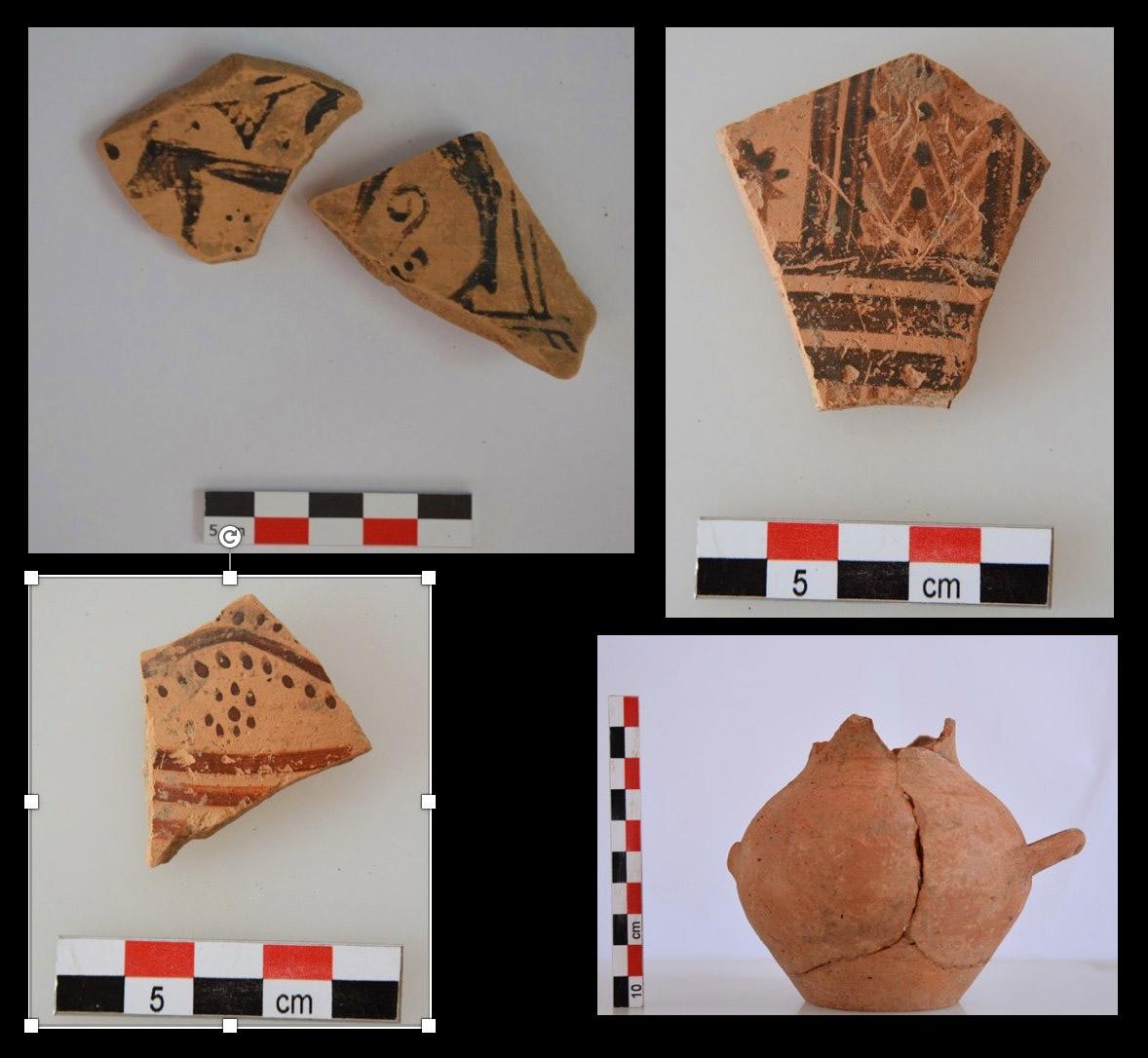 Θραύσματα αγγείων Γεωμετρικής περιόδου από την περιοχή του ιερού  (φωτ.: ΥΠΠΟΑ).