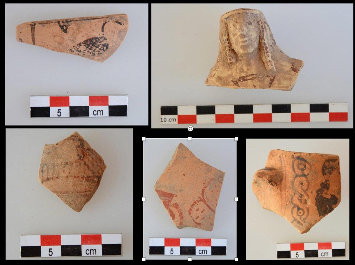 Θραύσματα αγγείων των αρχαϊκών χρόνων από την περιοχή του ιερού (φωτ.: ΥΠΠΟΑ).