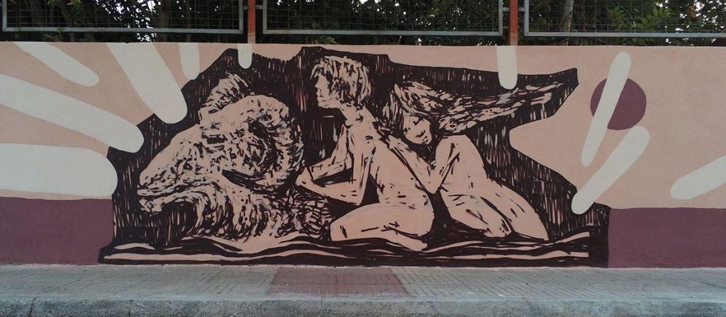 Τμήμα της τοιχογραφίας στον Βόλο που υλοποιεί η ομάδα UrbanAct (φωτ.: ΑΠΕ-ΜΠΕ).
