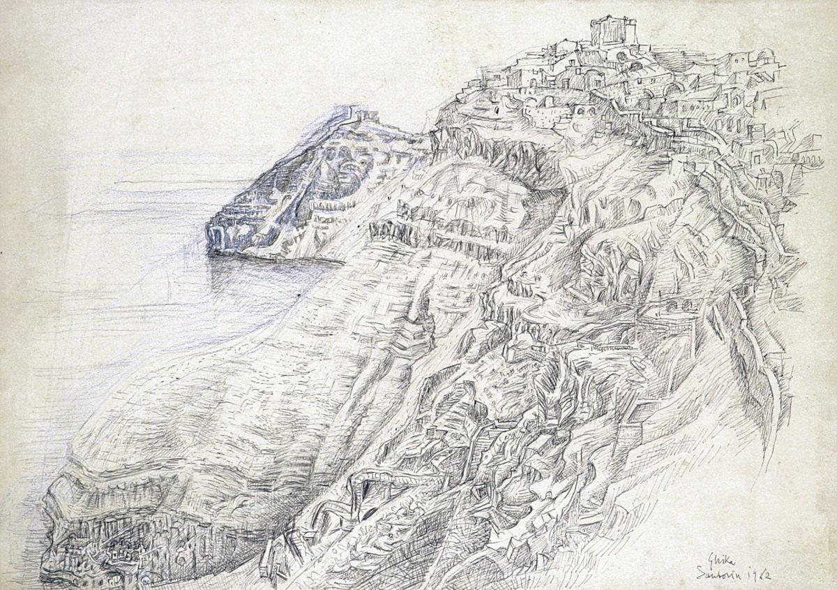Νικόλαος Χατζηκυριάκος–Γκίκας, «Σαντορίνη», σχέδιο με στυλό διαρκείας και χρωματιστά μολύβια. Συλλογή Δημήτρη Τσίτουρα.