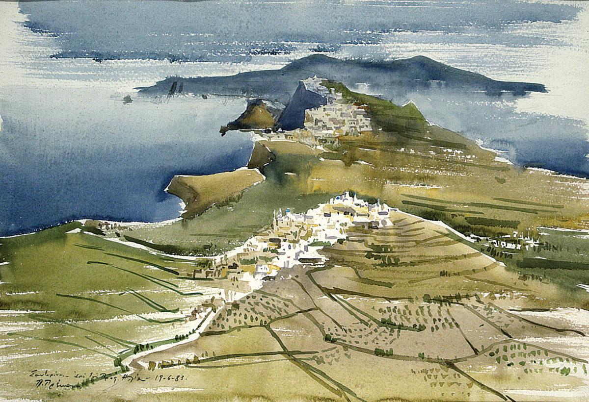 Πάρις Πρέκας, «Η θέα από τον Πύργο», υδατογραφία. Συλλογή Δημήτρη Τσίτουρα.