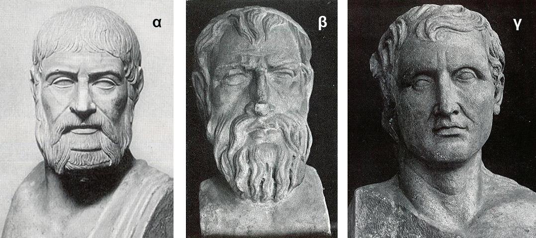 Εικ. 3. Kεφαλές ποιητών σε ρωμαϊκά μαρμάρινα αντίγραφα των αυθεντικών έργων, που παρουσιάζουν ασυμμετρίες. Από αριστερά: α. Πίνδαρος, Musei Capitolini, Ρώμη (Richter 1965, εικ. 417), β. Αριστοφάνης, Wilton House (Richter 1965, εικ. 795), γ. Mένανδρος, Terme Museum (Richter 1965, εικ. 1548).
