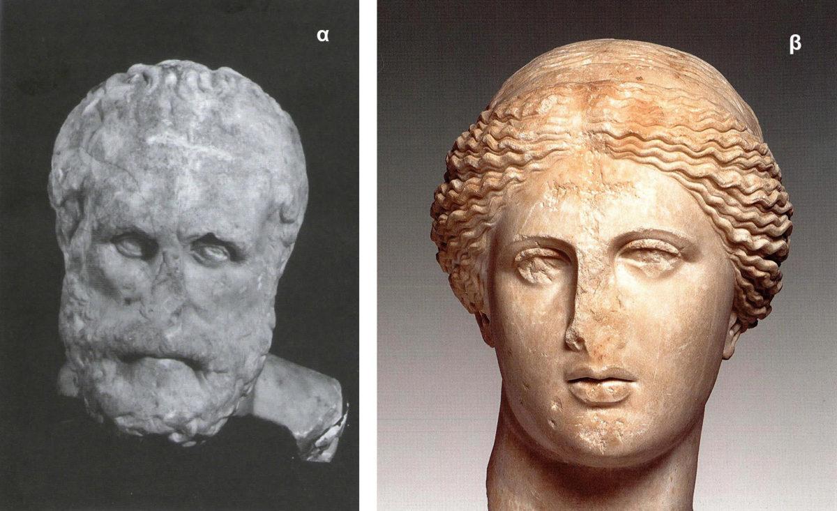 Εικ. 4. Αριστερά, μαρμάρινη κεφαλή ενός άγνωστου φιλόσοφου (τύπος New York-Rome-Caesarea). Αντίγραφο του αυθεντικού έργου, Israel Antiquities Authority (Dillon 2006, εικ. 10). Δεξιά, μαρμάρινη κεφαλή, πιθανώς αντίγραφο της Αφροδίτης της Κνίδου της σχολής του Πραξιτέλη του 4ου αι. π.Χ., Εθνικό Αρχαιολογικό Μουσείο Αθήνας (Corso 2007, σ. 123). Οι οφθαλμοί τους εικονίζονται με παρόμοια πλάγια κλίση.