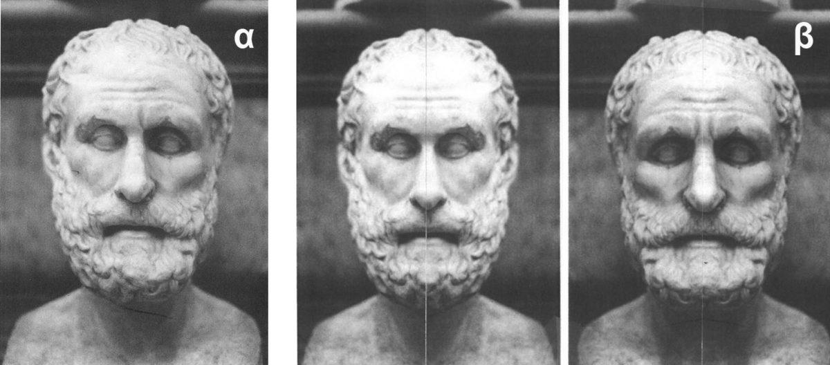 Εικ. 5. Μαρμάρινη προτομή άγνωστου φιλόσοφου (τύπος New York-Rome-Caesarea). Ρωμαϊκό αντίγραφο αυθεντικού έργου, Musei Capitolini, Ρώμη, αρ. 523 (Dillon 2006, εικ. 9). Δεξιά, τα δύο διαφορετικά πρόσωπα που συνθέτουν τη γλυπτή μορφή του φιλοσόφου (σχεδιασμός: Ε. Σαραντέα).