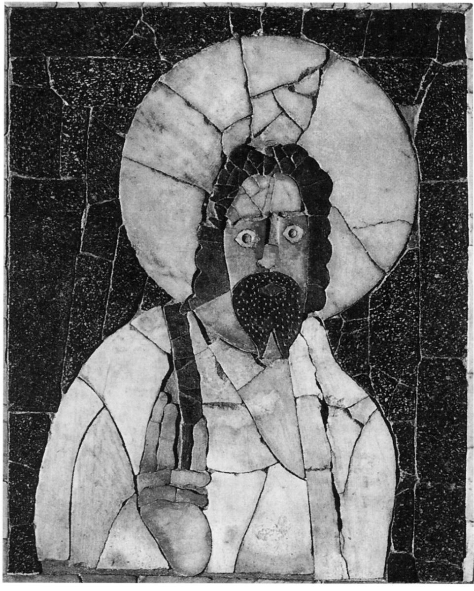 Εικ. 6. «Opus Sectile» στο Μουσείο της Όστια, στο οποίο εικονίζεται ασύμμετρο το πρόσωπο ενός χαρισματικού φιλοσόφου (πεφωτισμένος, «θείος άνδρας»), μέσα σε φωτοστέφανο (Zanker 1995, εικ. 172).