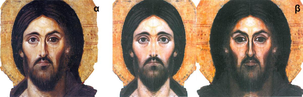 Εικ. 7. Εγκαυστική εικόνα του Χριστού Παντοκράτορα Μονής Σινά (6ος αι.). Δεξιά, τα δύο διαφορετικά πρόσωπα που συνθέτουν τη μορφή του Χριστού (σχεδιασμός: Ε. Σαραντέα).