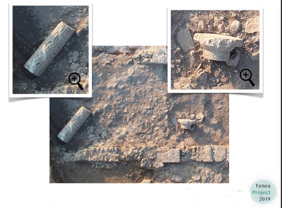 Δωρικό κιονόκρανο και ραβδωτός κίονας σε στρώμα καταστροφής του λουτρού (φωτ.: ΥΠΠΟΑ).