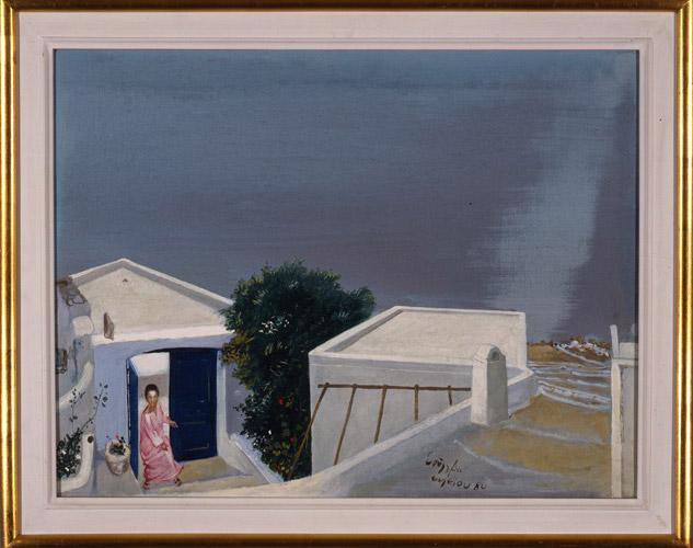 Σπύρος Βασιλείου, «Το σπίτι της Αγγέλας και του Δημήτρη στο Φηροστεφάνι», 1980, λάδι σε καμβά. Συλλογή Δημήτρη Τσίτουρα.
