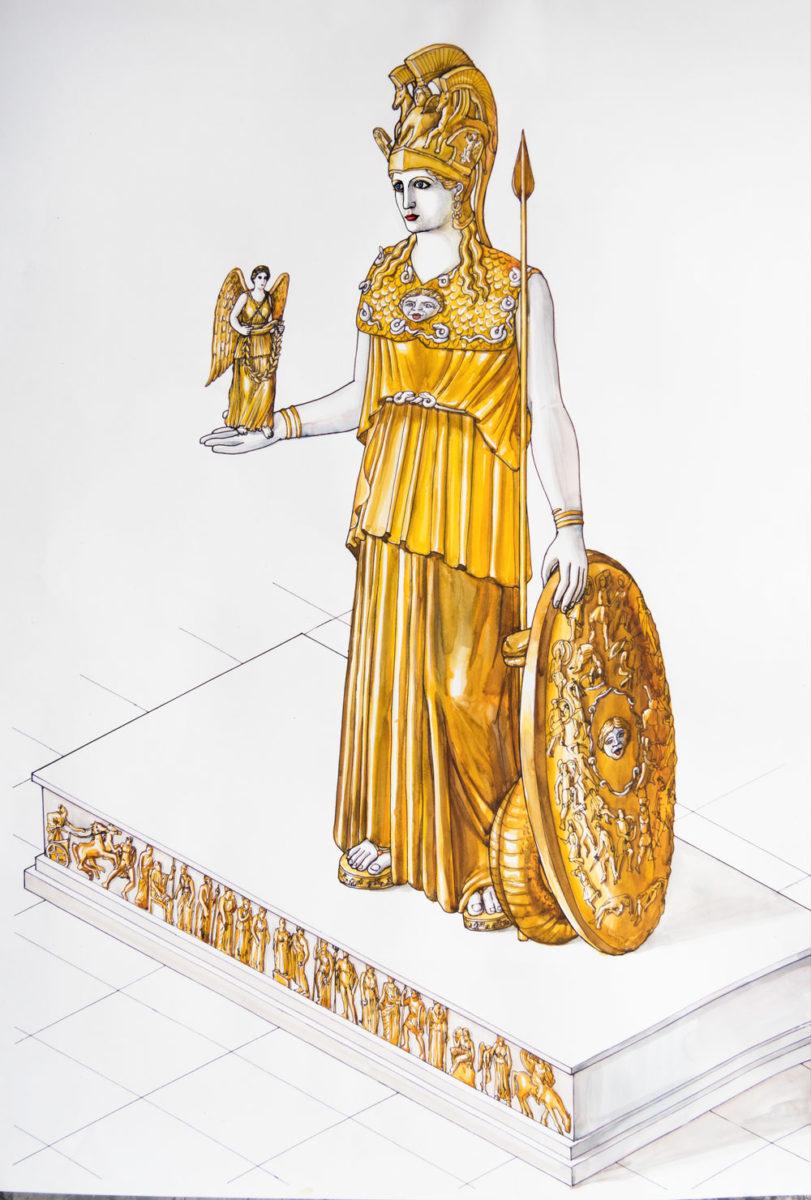 Το χρυσελεφάντινο άγαλμα της Αθηνάς Παρθένου. © Μουσείο Ακρόπολης.