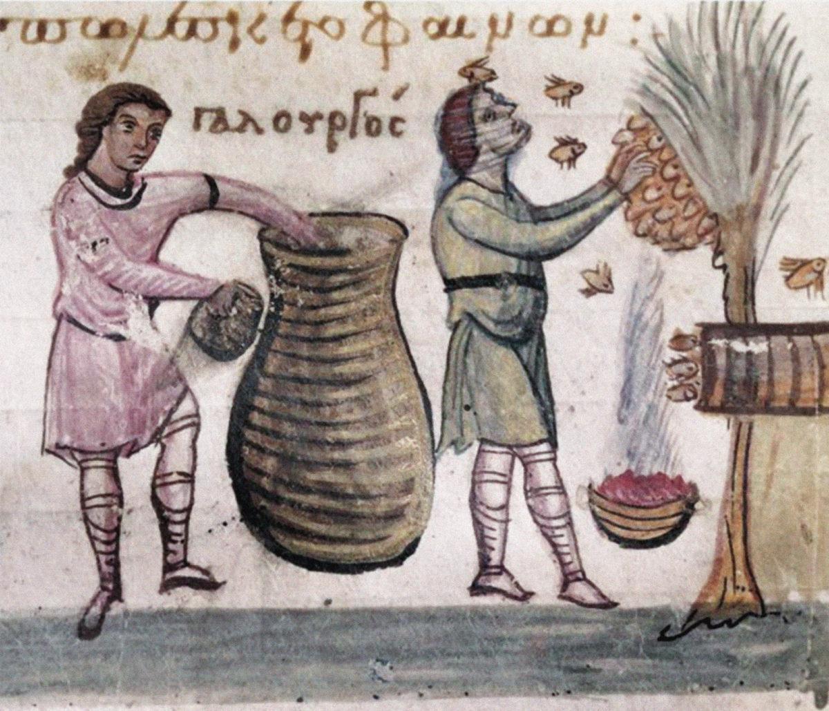 Μικρογραφία από το χειρόγραφο των «Κυνηγετικών» του Ψευδο-Οππιανού, κώδ. 479, φ. 62r, β' μισό του 11ου αι. Η προστατευτική προσωπίδα ενισχύει την απεικόνιση του Αρισταίου ως μελισσοκόμου (δεξιά).