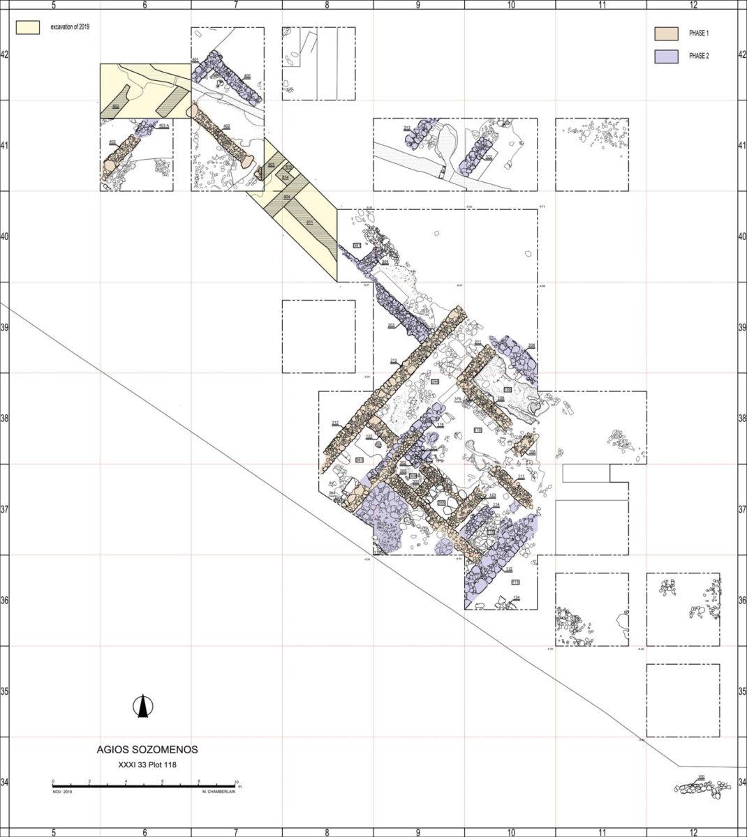 Σχέδιο της ανασκαφής στον Άγιο Σωζόμενο (φωτ.: Τμήμα Αρχαιοτήτων Κύπρου).