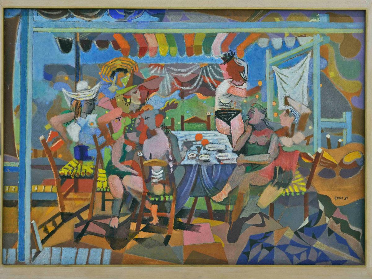 Νίκος Χατζηκυριάκος-Γκίκας, «Γλέντι στο ακρογιάλι», 1931. Λάδι σε μουσαμά 65,5x92 εκ. Εθνική Πινακοθήκη – Μουσείο Αλεξάνδρου Σούτσου.