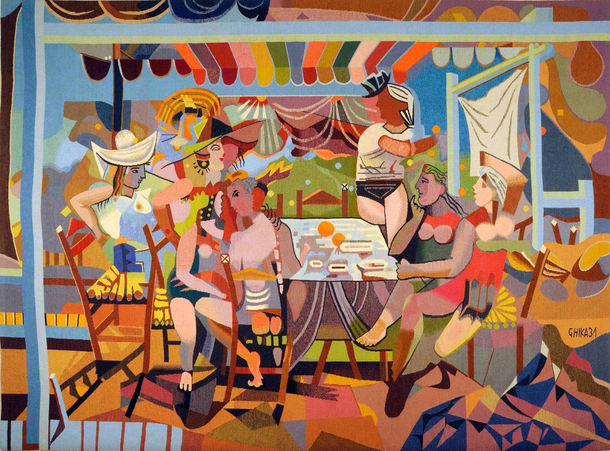 Νίκος Χατζηκυριάκος-Γκίκας, «Γλέντι στην ακρογιαλιά ΙΙ», δεκαετία 1970. Ταπισερί 196x268 εκ. Μουσείο Μπενάκη/Πινακοθήκη Γκίκα.