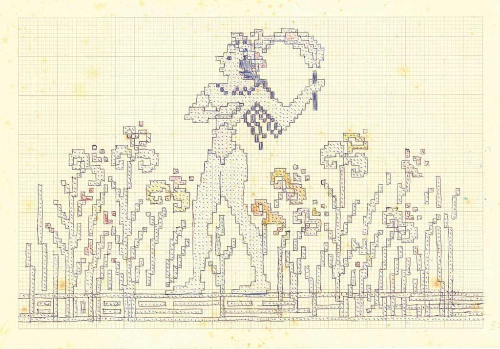 Σχέδιο για υφαντό με μινωικό μοτίβο από σχέδιο τοιχογραφίας «Ο Πρίγκιπας με τα κρίνα», 1924-1940, μολύβι και χρωματιστά κραγιόνια σε τετραγωνισμένο χαρτί. Αρχείο σχεδίων Φλωρεντίνης Καλούτση, Λύκειο Ελληνίδων Χανίων.
