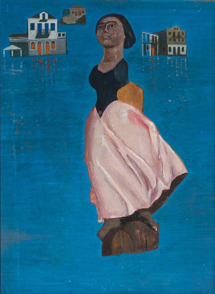 Σπύρος Βασιλείου, «Η γοργόνα», 1960. Αυγοτέμπερα 73x53 εκ. Ιδιωτική συλλογή.
