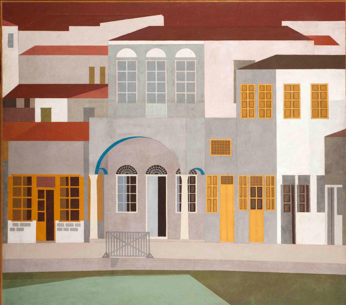 Νίκος Νικολάου, «Ύδρα», 1953. Πλαστικό σε νοβοπάν 170x190 εκ. Εθνική Πινακοθήκη – Μουσείο Αλεξάνδρου Σούτσου.