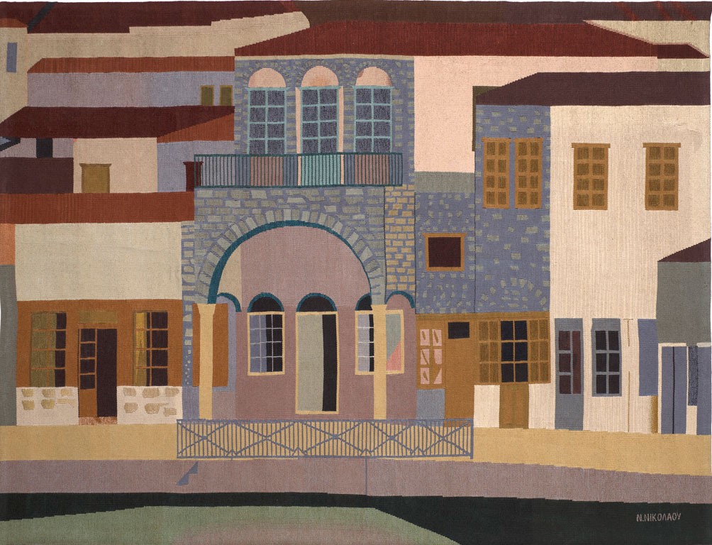 Νίκος Νικολάου, «Ύδρα B», δεκαετία 1980. Ταπισερί 138x178 εκ. Συλλογή Alpha Bank.