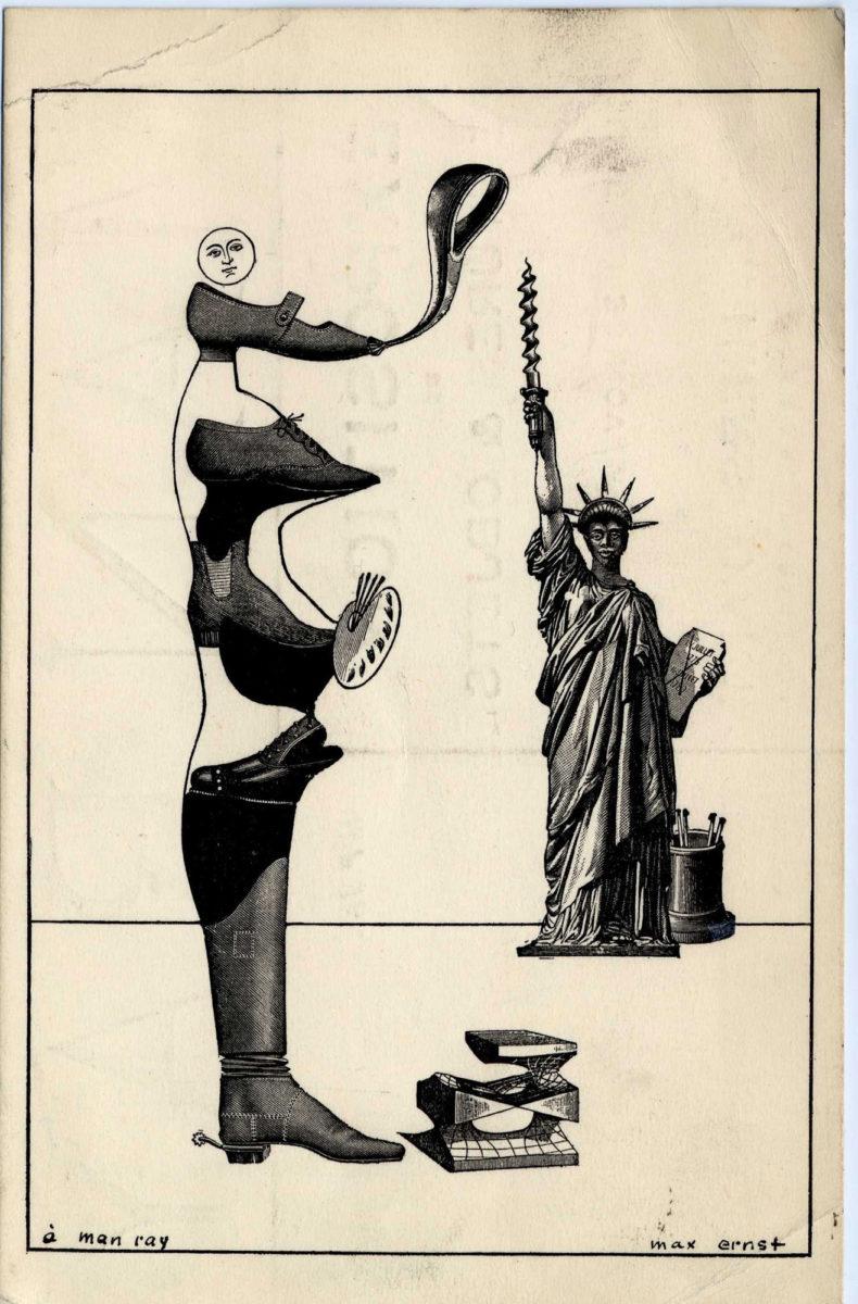 Πίσω όψη πρόσκλησης σε έκθεση του Man Ray στην γκαλερί Cahiers d'Art με σχέδιο του Max Ernst, 1935. Eυγενική παραχώρηση των εκδόσεων Cahiers d'Art. Max Ernst © Adagp, Paris/ OΣΔΕΕΤΕ 2019.